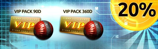 Save 20% CASH on VIP Packs!