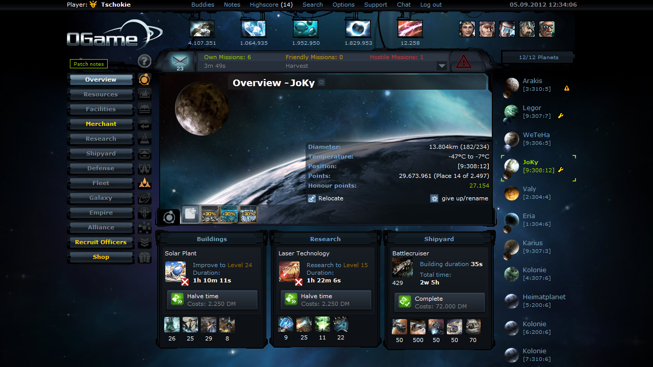 Screenshot of OGame